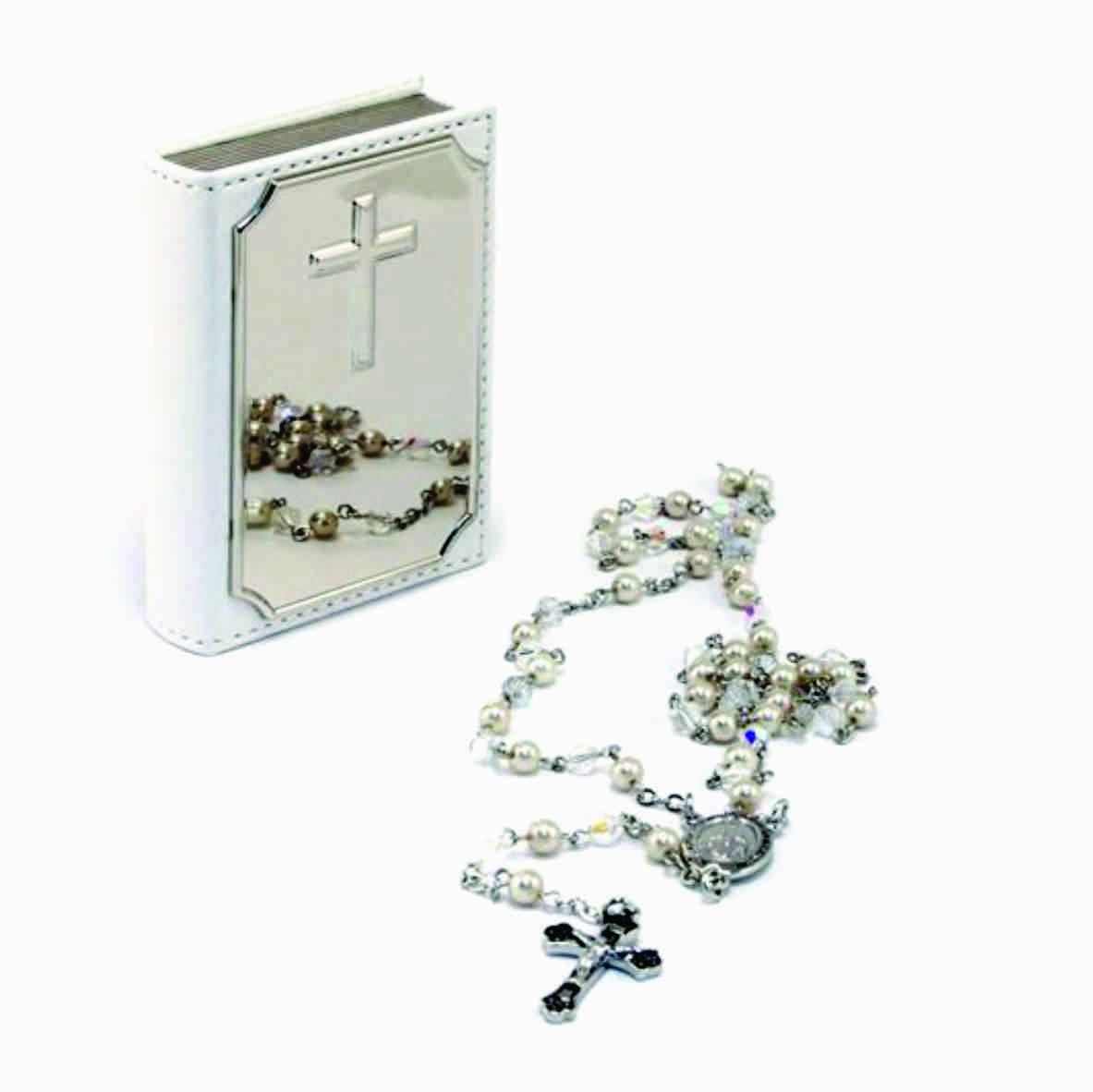 ROSARY BEADS IN BIBLE BOX - SILVER PLATED