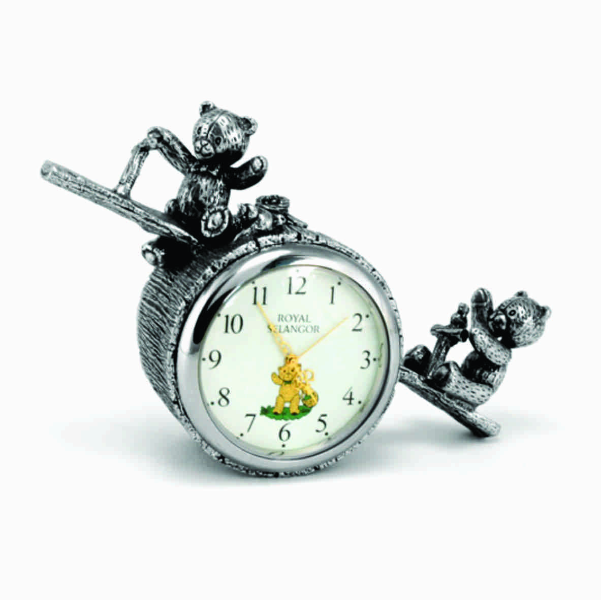 ROYAL SELANGOR PEWTER TEDDY BEARS PICNIC TABLE CLOCK