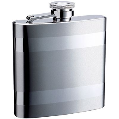 STAINLESS STEEL HIP FLASK WITH STRIPES 6oz