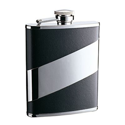 STAINLESS STEEL HIP FLASK WITH BLACK LEATHER 6oz