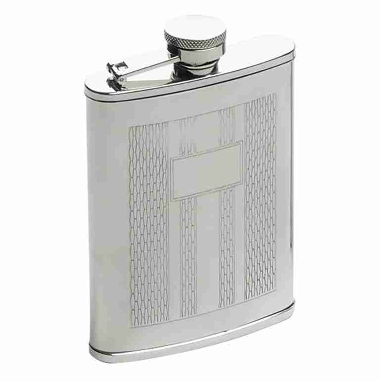 STAINLESS STEEL HIP FLASK WITH ETCHED DESIGN 6oz
