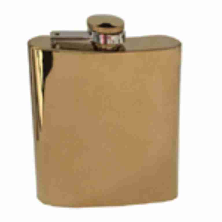 Gold Mirror Finish Hip Flask 6oz