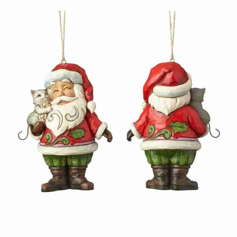 Heartwood Creek Mini Santa With Cat Hanging Ornament