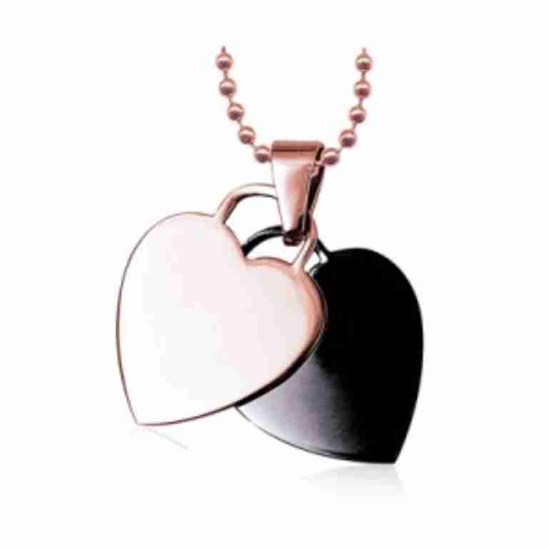 Stainless Steel Pink & Black Double Heart Pendant