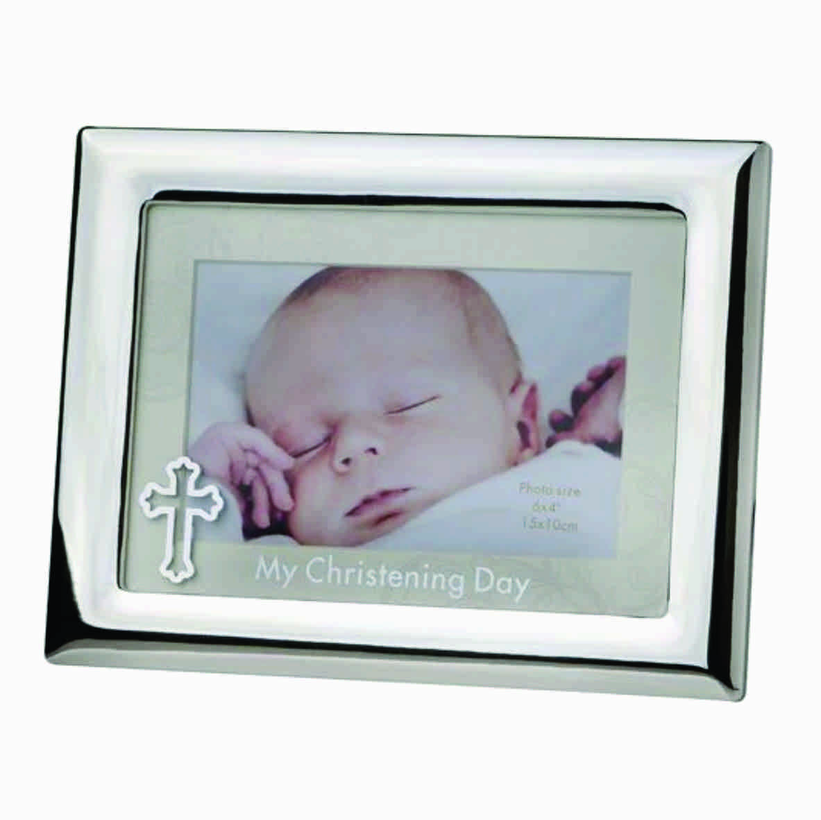 CHRISTENING FRAME WITH CROSS, SILVER FINISH