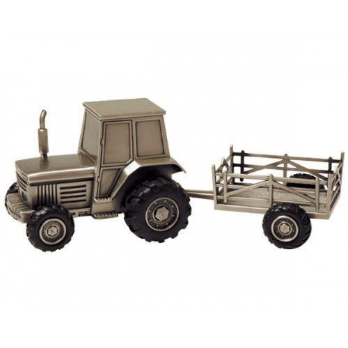 TRACTOR & TRAILER MONEY BOX, PEWTER FINISH