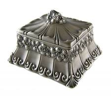FLORAL TRINKET JEWEL BOX, PEWTER FINISH