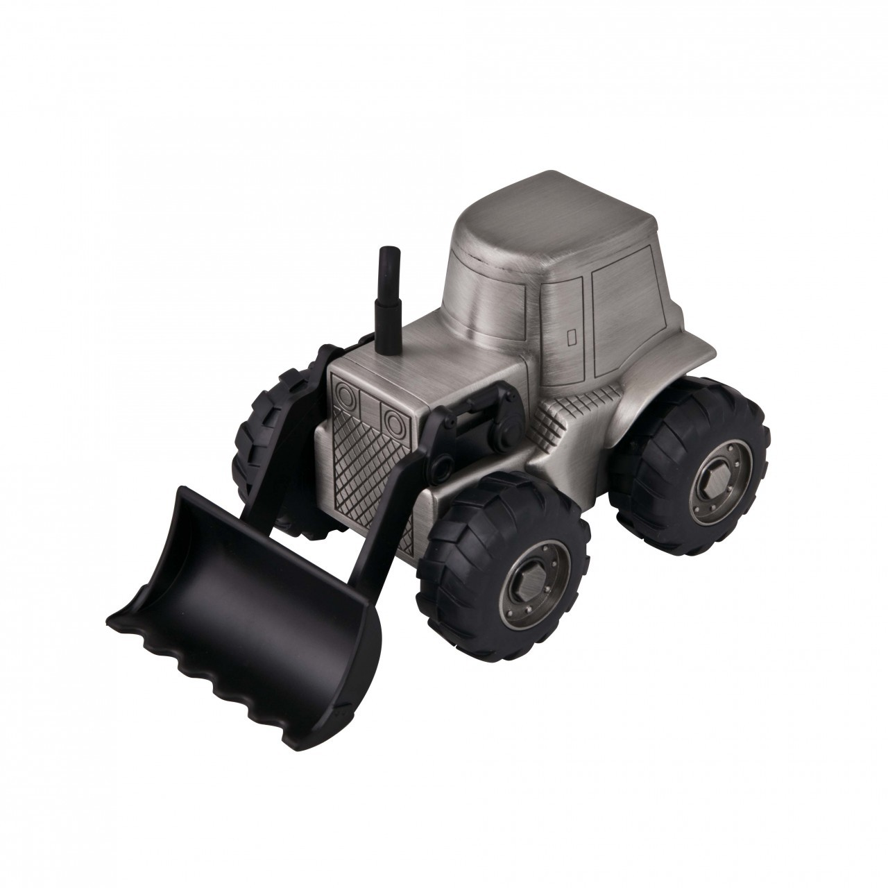 FRONT END LOADER TRACTOR MONEY BOX, PEWTER FINISH