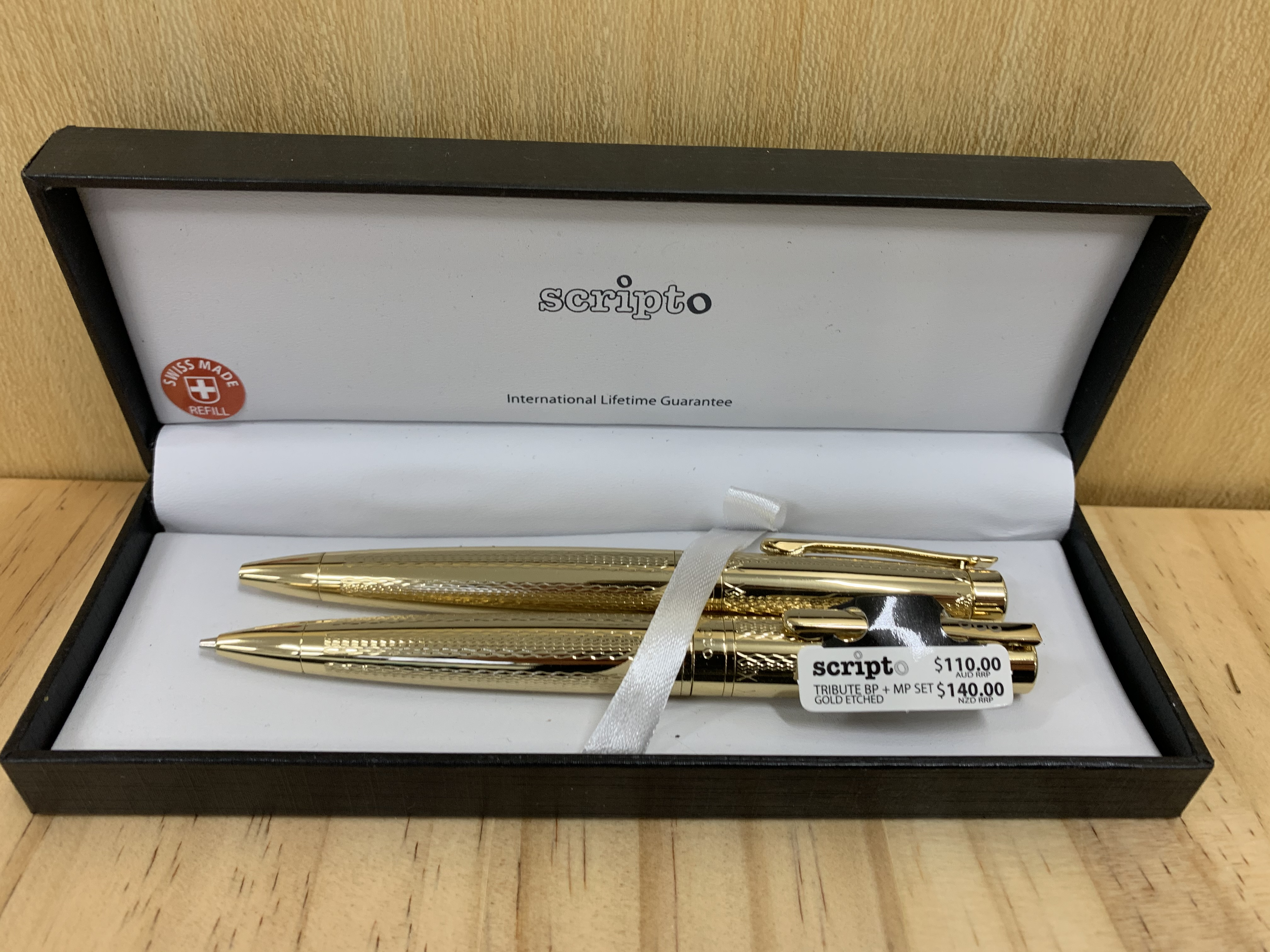 Scripto Gold Etched Pen & Pencil Set