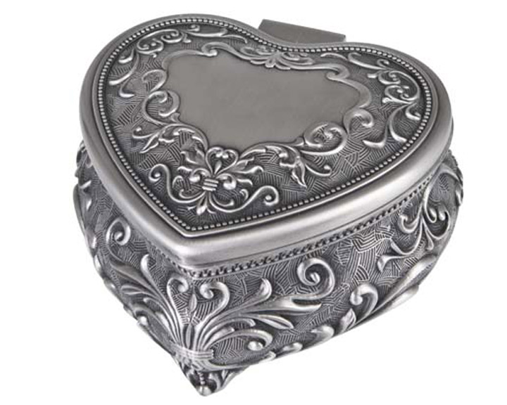 HEART JEWEL BOX PEWTER FINISH