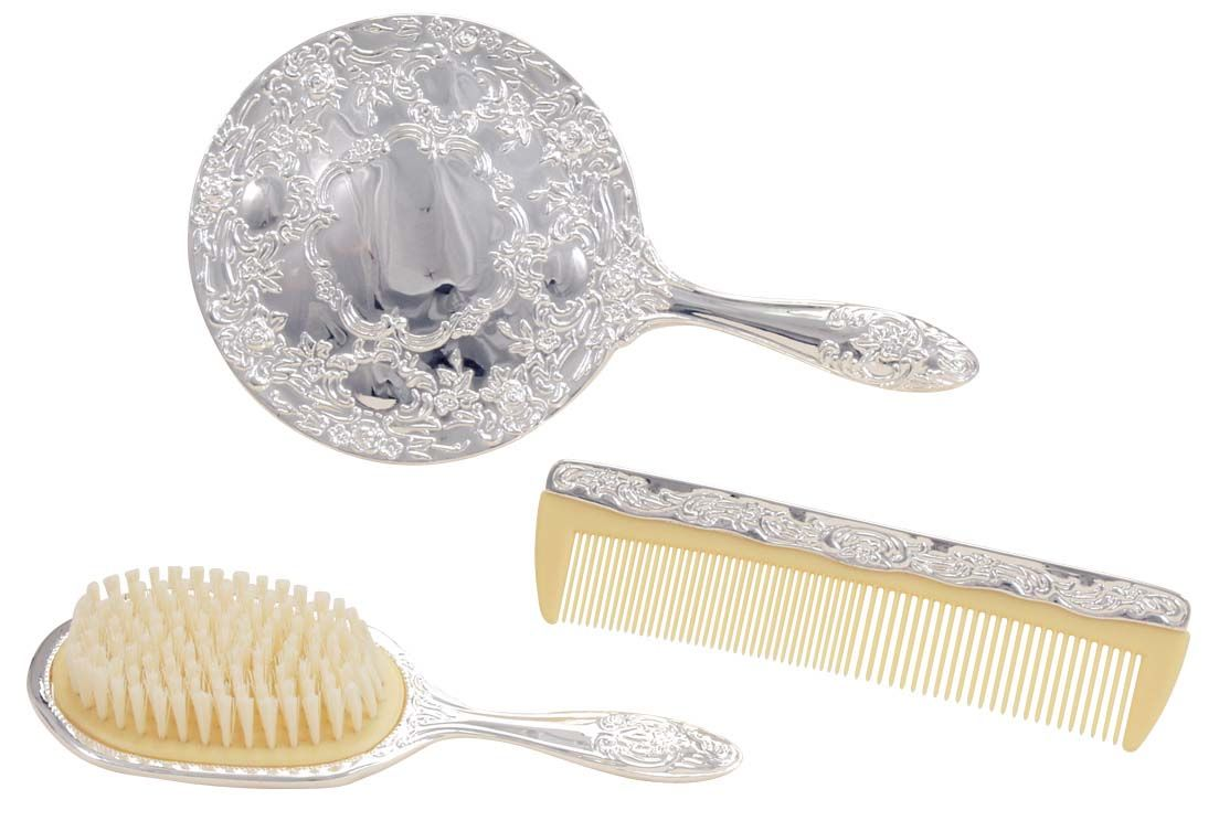 SILVER PLATED BRUSH, COMB & MIRROR SET