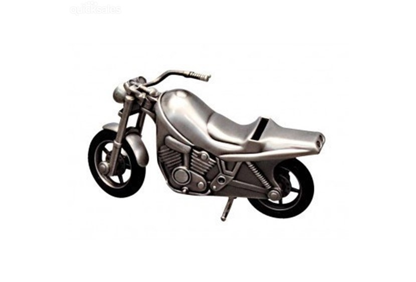 MOTOR BIKE MONEY BOX, PEWTER FINISH