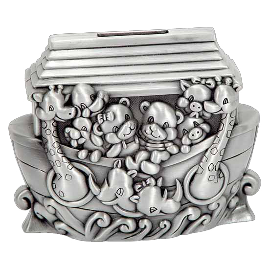 NOAH'S ARK MONEY BOX, PEWTER FINISH