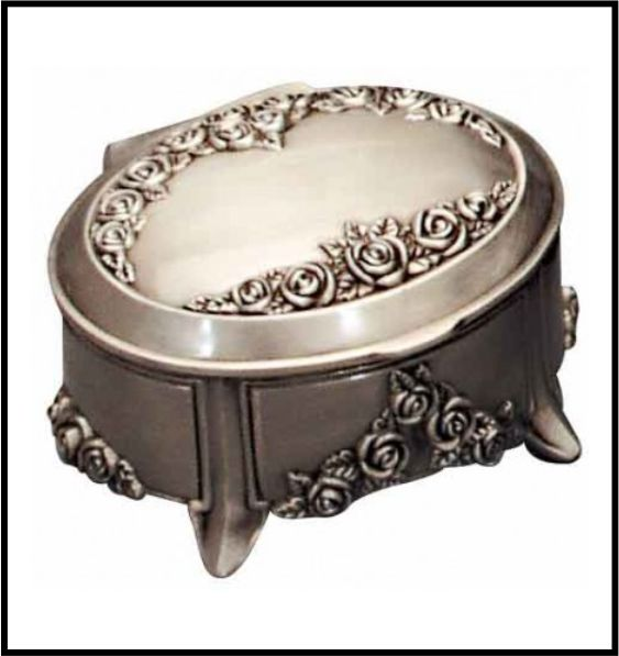 JEWEL BOX PEWTER FINISH OVAL W ROSES 100 MM