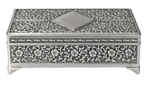 RECATNGULAR FLOWER JEWEL BOX - PEWTER FINISH