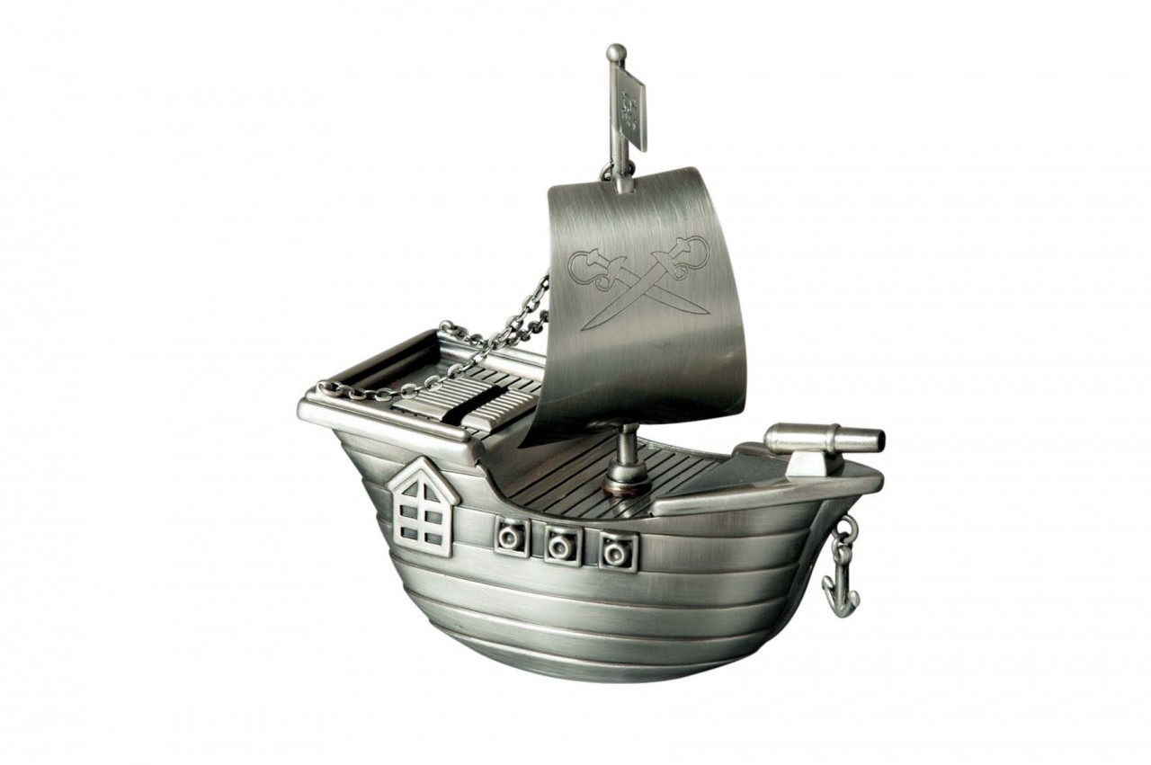 JOLLY ROGER PIRATE SHIP PEWTER MONEY BANK BOX