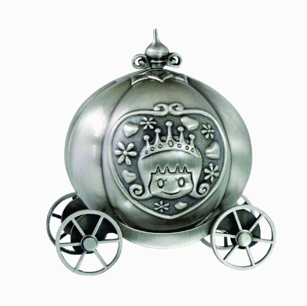 CINDERELLA PUMPKIN COACH MONEY BOX, PEWTER FINISH