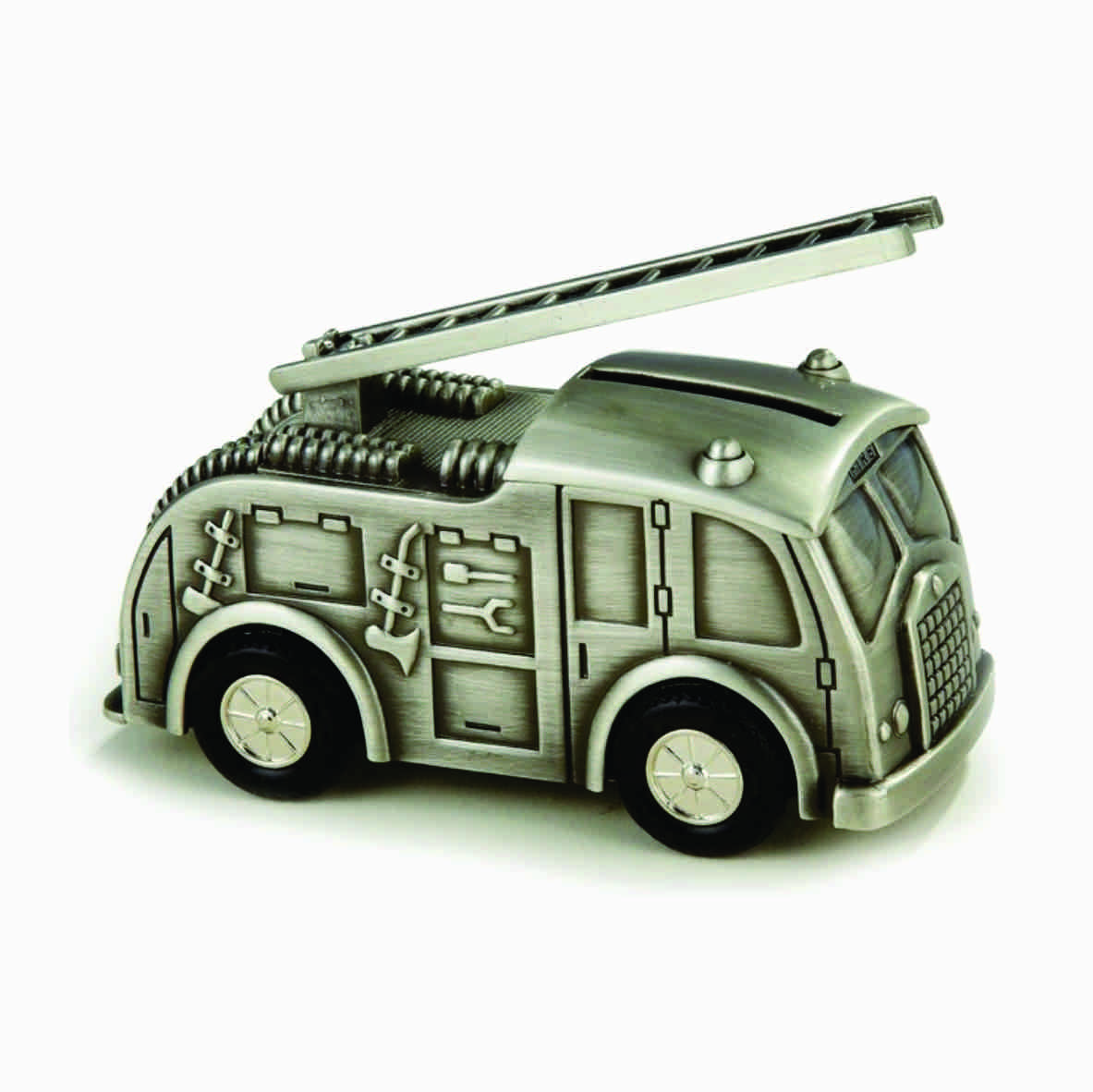 FIRE TRUCK ENGINE MONEY BOX, PEWTER FINISH