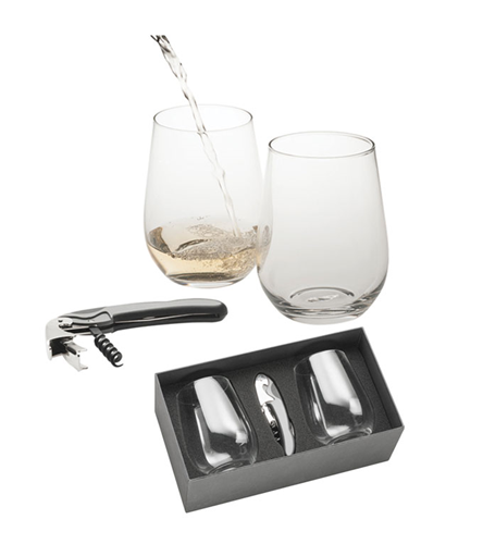 STEMLESS WINE GLASS SET WITH WAITERS FRIEND - PERSONALISED