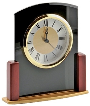 WOOD & GLASS DESK CLOCK - CK17