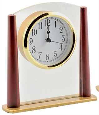 WOOD & GLASS DESK CLOCK - CK18