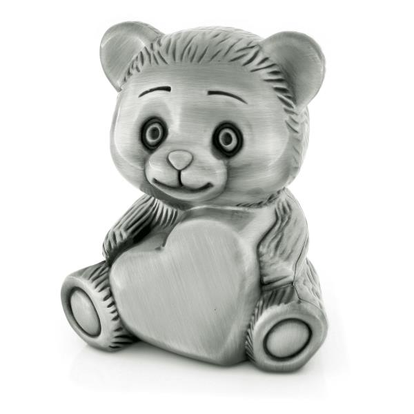 BEAR & HEART MONEY BOX, PEWTER FINISH