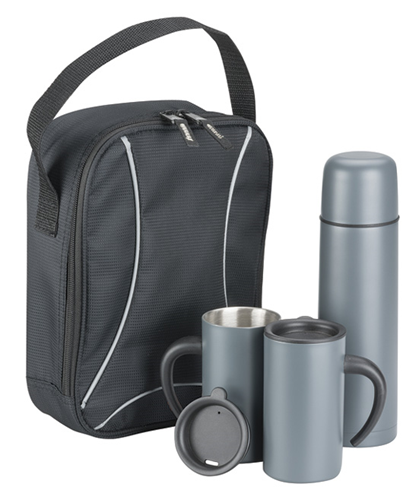 THERMAL DRINK FLASK, TWO MUGS AND INSULATED BAG