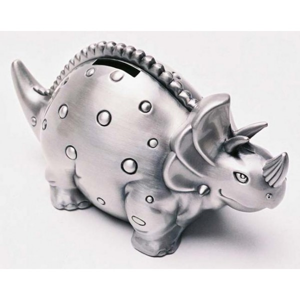 TRICERATOPS MONEY BOX, PEWTER FINISH
