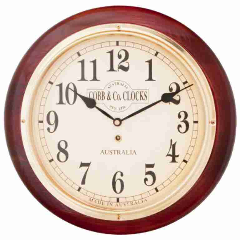 Cobb & Co Arabic Numerals Railway Wall Clock, 32cm Mahogany