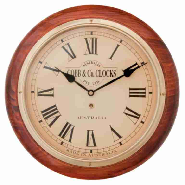Cobb & Co Roman Numerals Railway Wall Clock, 28cm Golden Oak