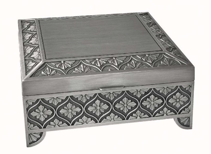 SQUARE LEAF DESIGN JEWEL BOX, PEWTER FINISH