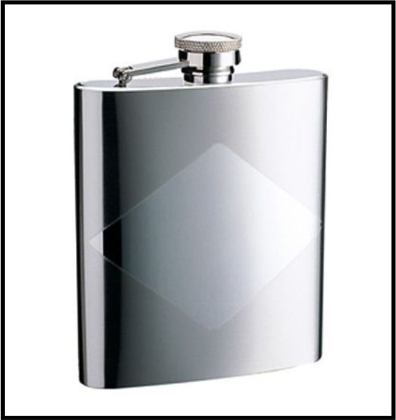STAINLESS STEEL HIP FLASK WITH DIAMOND PANEL 8oz