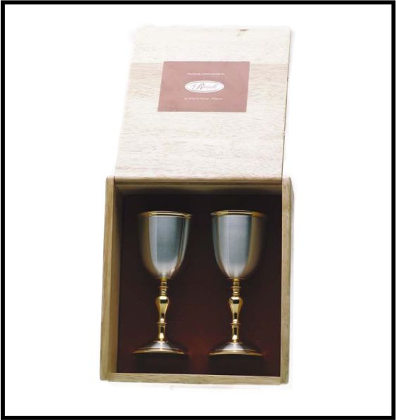 BOXED SET OF PEWTER WINE GOBLETS WITH GOLD TRIMMINGS