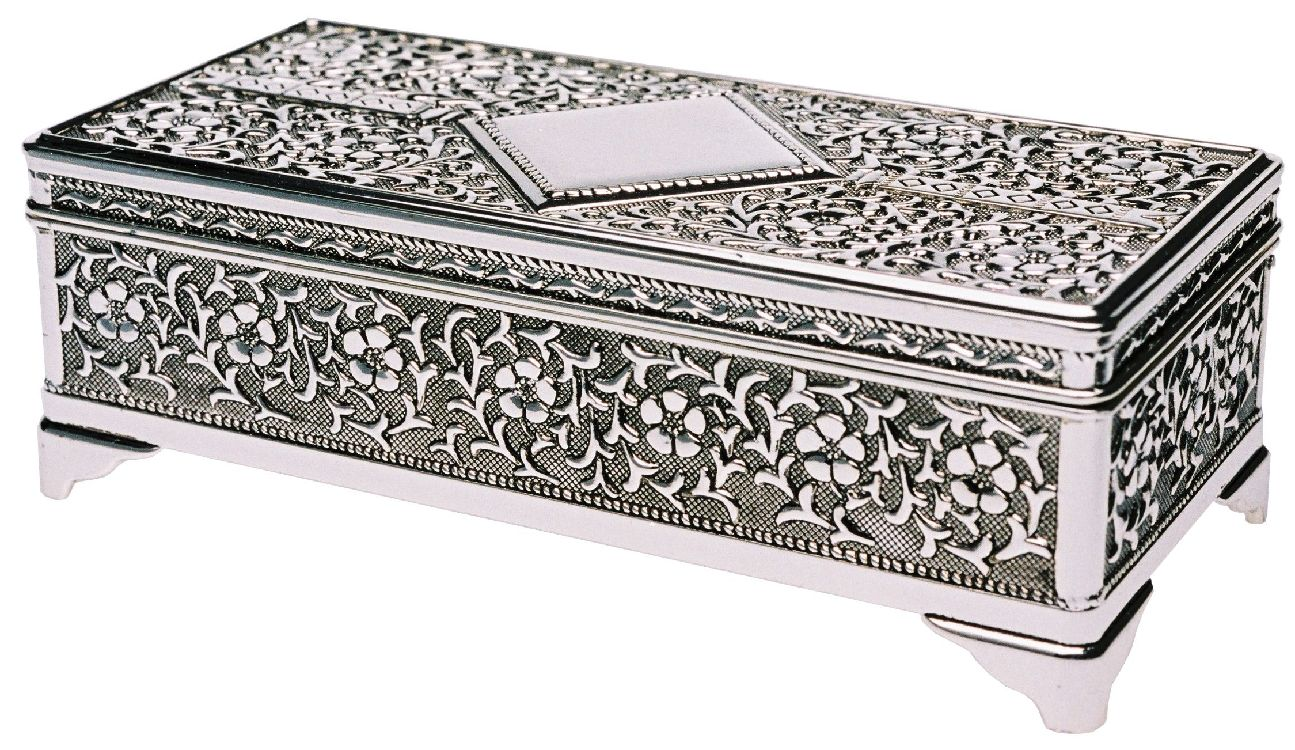 RECTANGULAR FLOWER JEWEL BOX - SILVER FINISH
