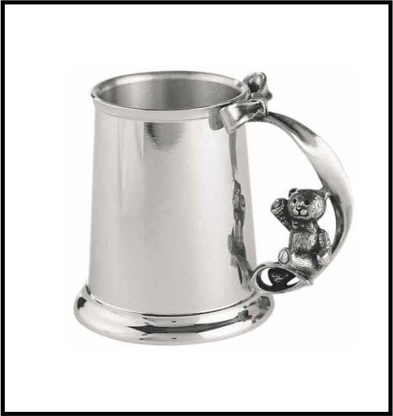 ROYAL SELANGOR PEWTER TEDDY BEAR CHRISTENING MUG