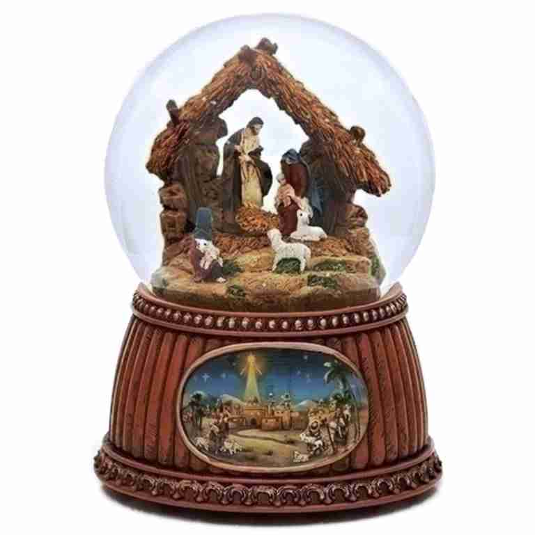 Nativity Scene Rotating Musical Glitterdome