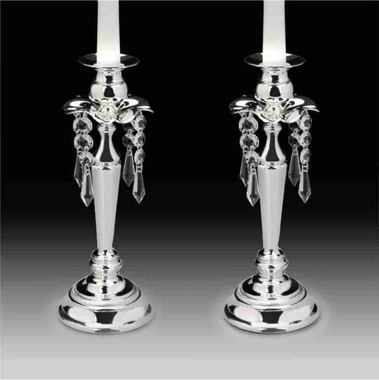 Whitehill Silverplated Candlestick Set With Crystal drops